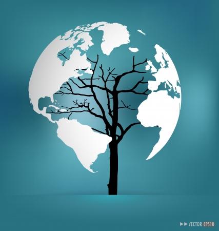 Tree shaped world map. Illustration.