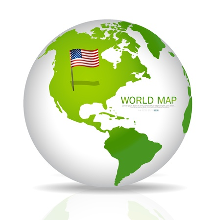 American Flag on the map. Illustration. Vector