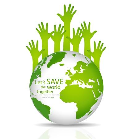 Red de wereld, Globe met de handen. Illustratie.