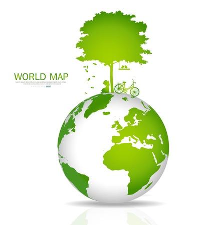 simbolo paz: Salva el mundo. Ilustración.