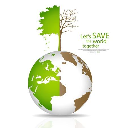 wereldbol groen: Red de wereld, Boom op een ontboste wereldbol en groene wereld. Illustratie.