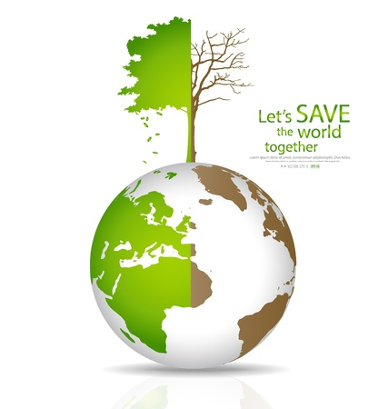 Save the world, Tree on a deforested globe and green globe. Illustration. Vector