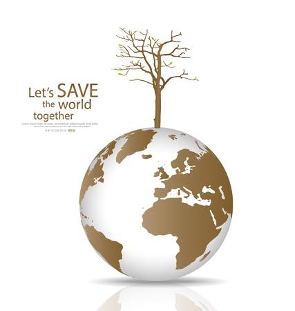biological waste: Salvar el mundo, �rbol seco en un globo deforestada. Ilustraci�n. Vectores
