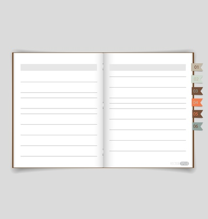 Notebook with reminder note. Illustration. Vector
