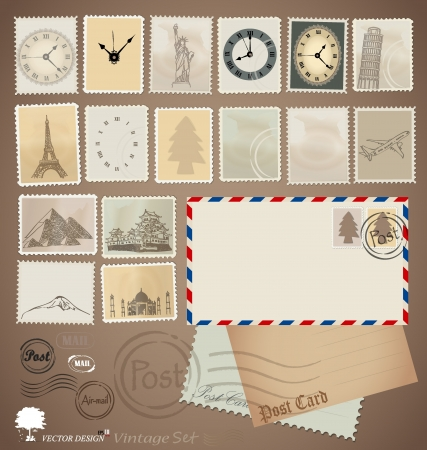 Illustration set: Vintage stamp designs, envelope and postcard. Vector