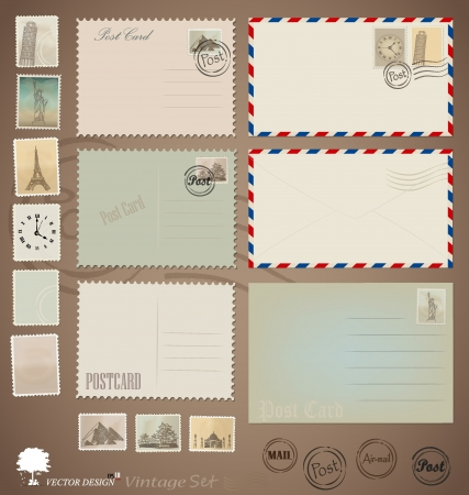Illustration set: Vintage postcard designs, envelopes and stamps. Vector