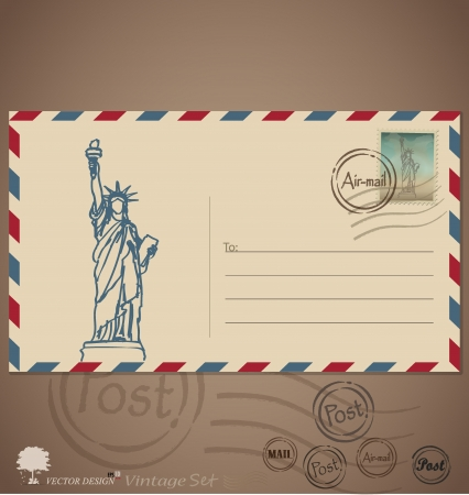 Vintage envelope designs with postage stamp.Illustration. Vector