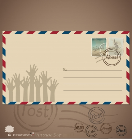 Vintage envelope designs with postage stamps. Illustration. Vector