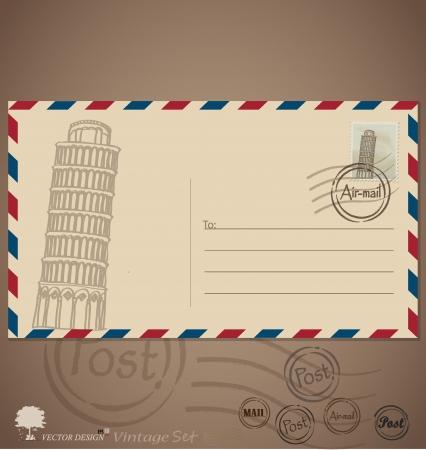 Vintage envelope designs with postage stamp. Illustration. Illustration