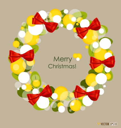 Merry Christmas Greeting Card, Illustration. Vector