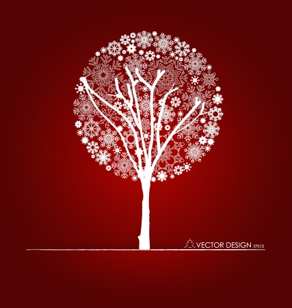 red color: Christmas background with Christmas tree, Illustration.