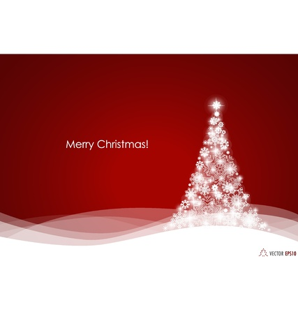 Christmas background with Christmas tree, Illustration. Vector