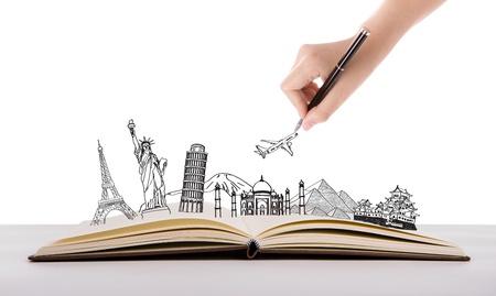 libros abiertos: Libro de viajes (Japón, Francia, Italia, Nueva York, India, Egipto) Foto de archivo