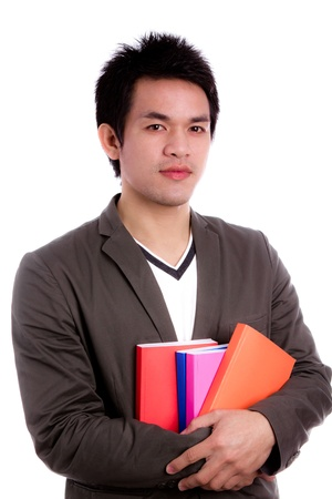 councilor: Portrait of a man holding books Isolated on white background Stock Photo