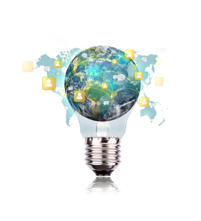 eco innovation: Light Bulb with earth of social network Stock Photo