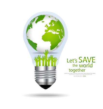 land development: Save the world, Light bulb with globe inside. Vector illustration.