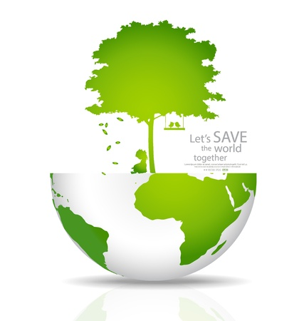 energy save: Save the world. Vector illustration Illustration