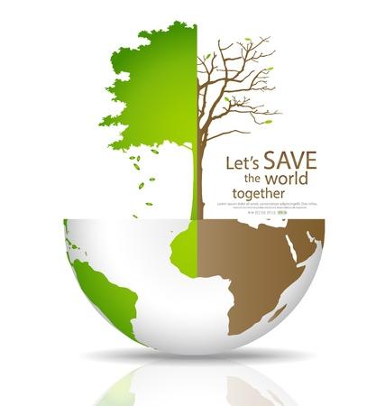 世界では、森林伐採世界とグリーン グローブの図のツリーを保存します。  イラスト・ベクター素材