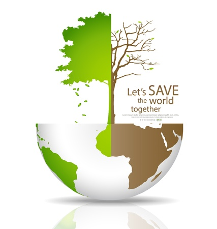 deforested: Save the world, Tree on a deforested globe and green globe illustration.
