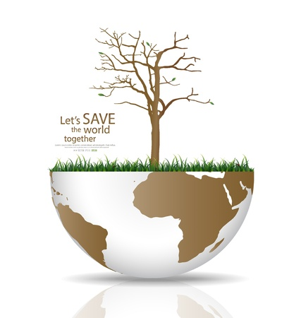 deforested: Save the world, Dry tree on a deforested globe illustration. Illustration