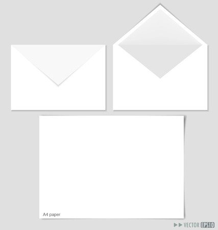 White paper and envelopes  illustration. Vector