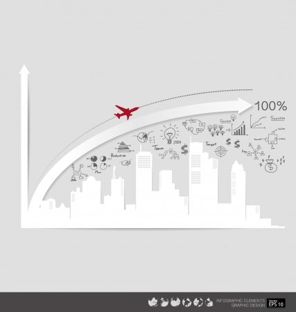 Modern design graph with drawing business strategy plan concept idea, can use for business concept illustration. Vector