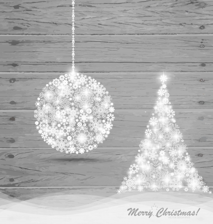 Christmas ball and Christmas tree with snowflakes on wood background illustration. Vector