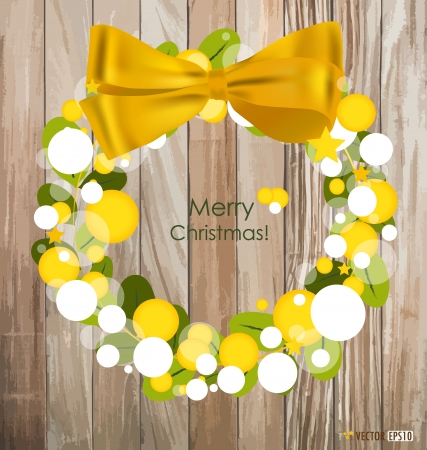 Merry Christmas Greeting Card on wood background illustration. Vector