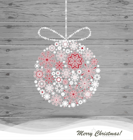 Christmas ball with snowflakes on wood background. illustration. Vector
