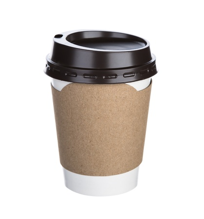tazas de cafe: Papel taza de café Fondo blanco aislado Foto de archivo