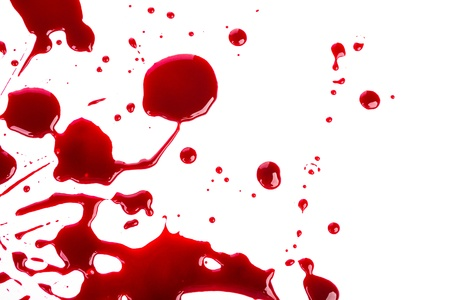 Halloween concept : Blood splatter on white background photo