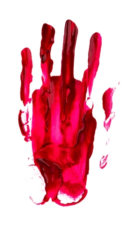 bloody hand print: Bloody print of a hand and fingers on white wall