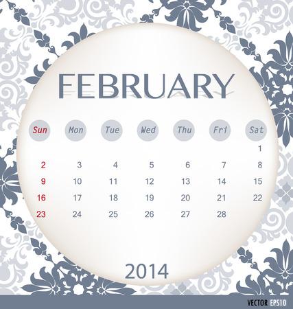 2014 calendar, vintage calendar template for February. Vector illustration. Vector