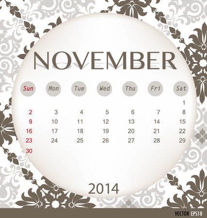 2014 calendar, vintage calendar template for November. Vector illustration. Vector