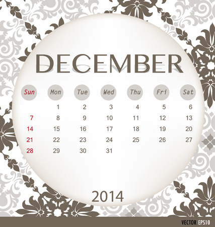 2014 calendar, vintage calendar template for December. Vector illustration. Vector