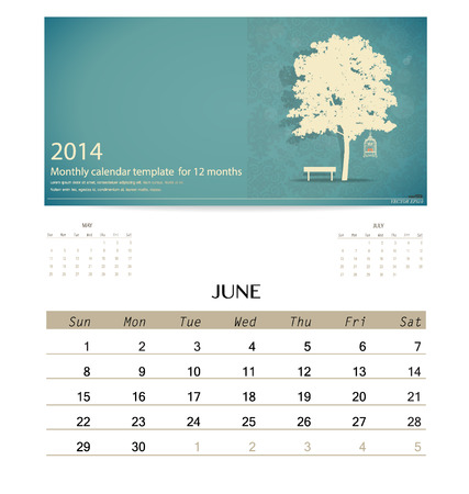 2014 calendar, monthly calendar template for June. Vector illustration. Vector