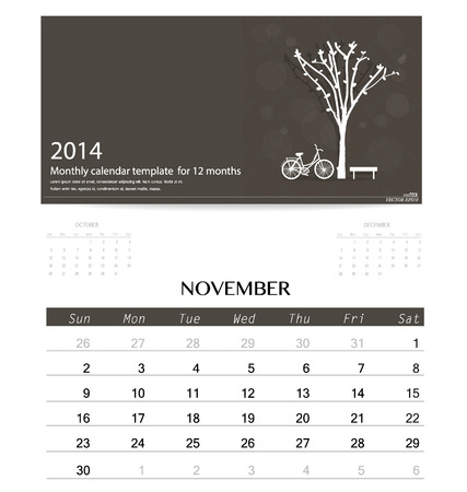 2014 calendar, monthly calendar template for November. Vector illustration. Illustration