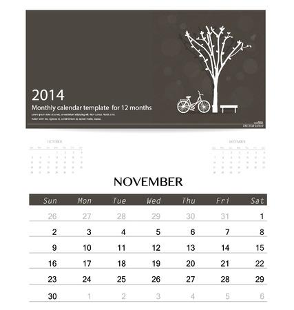2014 kalendarz, szablon kalendarza miesięczny za listopad. Ilustracji wektorowych. Ilustracja