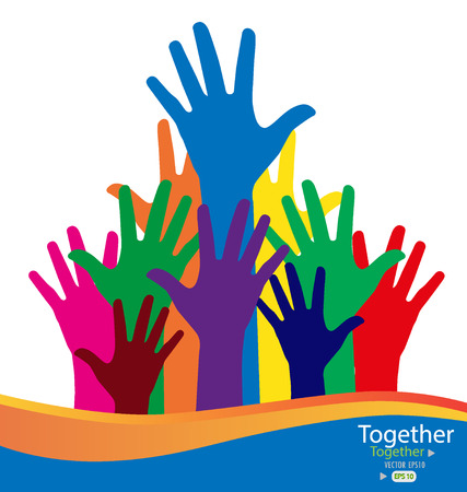 participate: Colorful raised hands. Vector illustration.