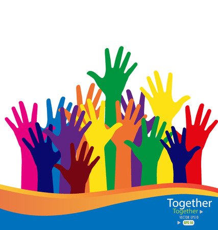 participation: Colorful raised hands. Vector illustration.