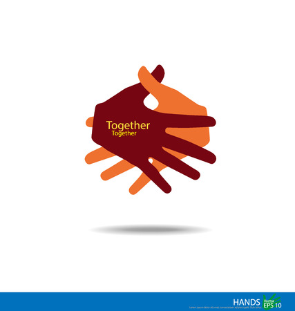join hands: Handshake, Teamwork Hands. Vector illustration.
