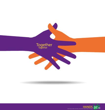 juntos: Estrechar las manos, las manos Trabajo en equipo. Ilustración del vector.