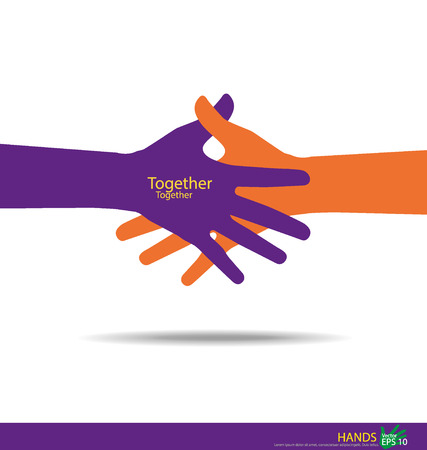 community help: Handshake, Teamwork Hands. Vector illustration.