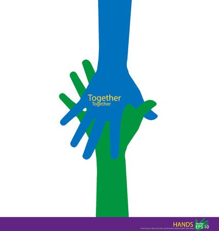 Handdruk, Teamwork Handen. Vector illustratie.