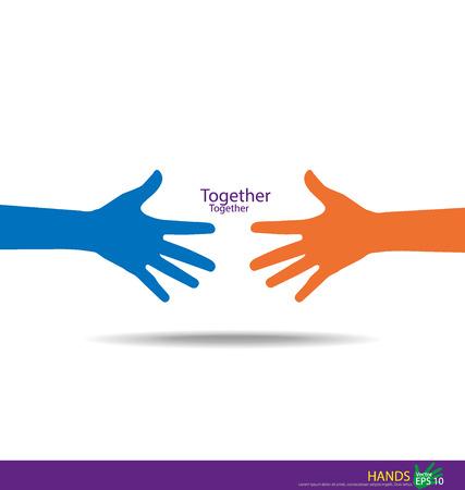 personas ayudando: Estrechar las manos, las manos Trabajo en equipo. Ilustración del vector.