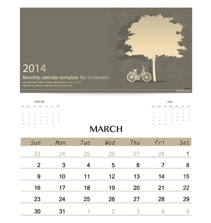 2014 calendar, monthly calendar template for March. Vector illustration. Vector