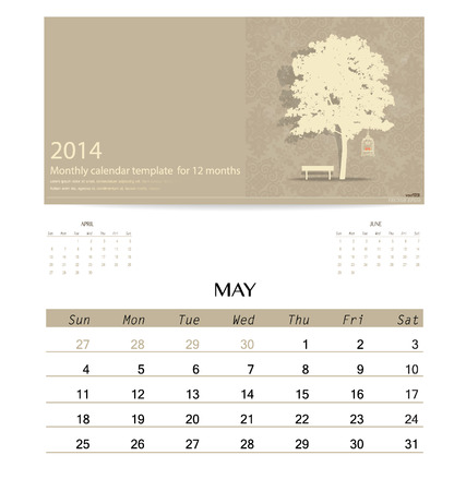 monthly: 2014 calendar, monthly calendar template for May. Vector illustration.