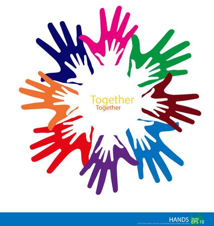 Kleurrijke handen. Vector illustratie.