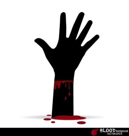 A bloody hand with blood dripping down. Vector illustration. Vector