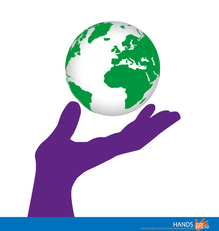Hand holding a green earth. Vector illustration. Vector